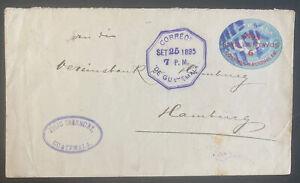 1895 Guatemala Postal Stationery Cover To Hamburg Germany Sc#B7