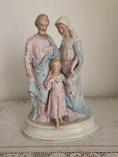 Figurengruppe Heilige Familie Herzjesu Biskuitporzellan Glasur Goldverzierung