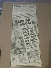1937 Wake Up And Live Movie Newspaper Ad Walter Winchell