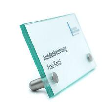 Tischschild, Tischaufsteller, Glasschild, Büroschild, Namensschild 200/100 mm