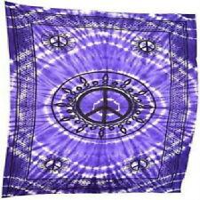 "Peace Tie Dye  Tapestry 72' X 108"" Purple / Black KING Wall Hanging Bed Spread"