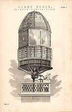 1868 PRINT ~ LIGHTHOUSE ~ DIOPTRIC REVOLVING LENS