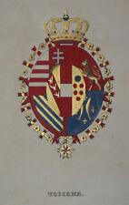c1850 Toscana Toskana Italia Heraldik Koloriertes Stahlstich-Wappen