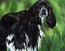 COCKER SPANIEL Black & White 8x10 Dog Art Print of Original Oil Painting by VERN