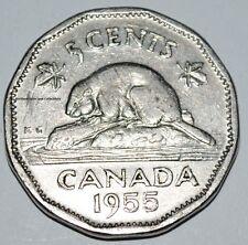 Canada 1955 5 Cents Elizabeth II Canadian Nickel Five Cent