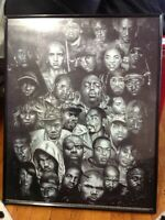 2004 Rare Hip Past And Present Framed Poster Biggie,2Pac,ect...