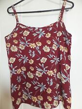 STRAPPY CAMI TANK VEST TOP BLOUSE DARK RED/YELLOW/BLUE FLORAL PRINT 6/8 UK BNWOT