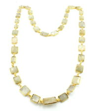 Necklace natural real rutilated gemstone faceted 54 grams brass plated 30 inches