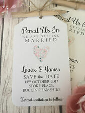Pencil Us In Vintage/Rustic Wedding Save the Date tags, pencil, twine