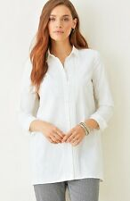 NEW J. Jill - L( 18-20) - White Pintucked Button-front Stretch Tunic, NWT