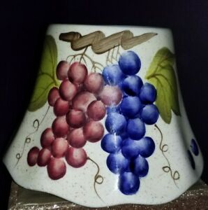 Porcelain jar candle shade grapes red purple bunch grapes candle shade