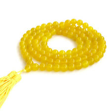 Tibetan Buddhist 108 Yellow Jade Gem Prayer Beads Mala Necklace