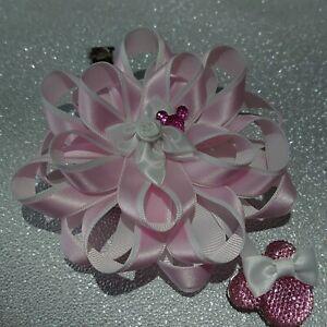 Glam pink rhinestone Mickey inspired ribbon rosette pram charm. All handmade.