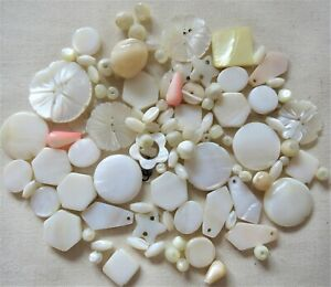 100 x MOTHER OF PEARL CARVED BEADS SELECTION CRAFTS JEWELLERY MAKING