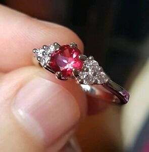 Womans Size K 1/2. Red Ruby & White Topaz 925 Silver Ring