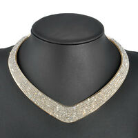 Women Bling Crystal Elegant Choker Chunky Statement Bib Chain Necklace Jewelry