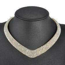 Women Fashion Gold Plated Crystal Choker Pendant Chunky Statement Bib Necklace