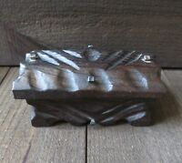 Vintage Rustic Carved Wooden HInged Lidded Trinket Box w/Nail Heads Spain Chest