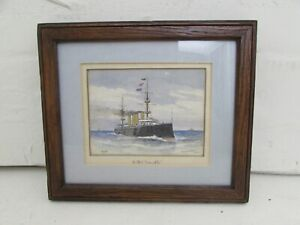 """Original W. Fred Mitchell watercolour Painting Depicting H.M.S. """"Terrible"""" 1902"""
