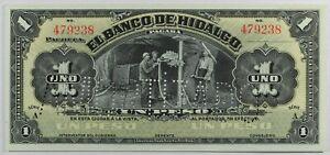 Mexico: 1 Peso El Banco de Hidalgo Amortizado 1914 ... GEM UNC