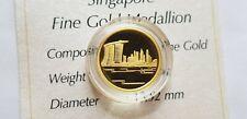Singapore Mint 1/25 Oz 999.9 Gold Medallion - Singapore Skyline w box/cert