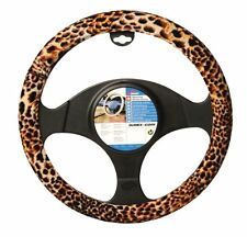 Brun, beige & noir velours léopard imprimé animal Volant Voiture Gant Housse