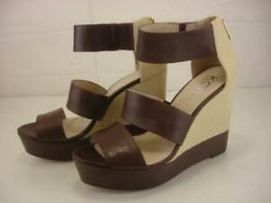Women's 10 M Michael Kors Brown Leather Ivory Linen Platform Sandals Wedge Heels