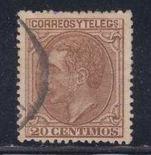 ESPAÑA (1879) USADO SPAIN - EDIFIL 203 (20 cts) ALFONSO XII - LOTE 1