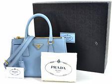 Auth PRADA Saffiano Lux Double Zip Handbag Shoulder Bag Astrale Goldtone 98156d