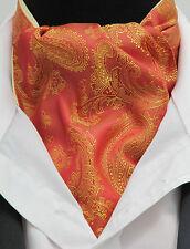 Mens Orange & Gold Paisley Silky Satin Ascot Cravat & Pocket Square - Made in UK