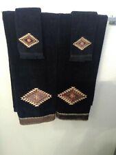 NEW Avanti Linens Mojave 3 Bath Towels & 3 fingertip towels, Black