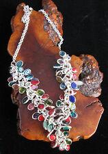 "Rainbow Necklace RedCoral,BlueTopaz & Multi Gem Stones Sterling Silver 16""-18"""