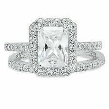 2.20 Ct Emerald Cut Halo Wedding Engagement Bridal Ring Band Set 14k White Gold