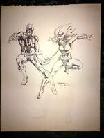 "Frank Miller Signed Original Sketch 11"" x 14"" Daredevil + Black Widow circa 1981"