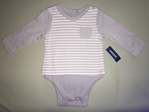 NEW OLD NAVY 6 12 MONTHS ONE PIECE STRIPED DOUBLE SLEEVE POCKET GRAY WHITE