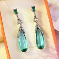 Women 925 Silver Aquamarine Fashion Dangle Anniversary Drop Earrings Jewelry