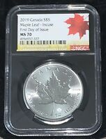 2019 S$5 Canada Maple Leaf 40 Anniversary Release MS70 First Day 79-19,1at1290,o