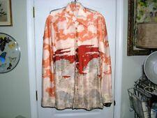 "New listing Slick Vintage 70's Scenic Long Sleeve Button Down Shirt S/M Ch 38"" Straight Hem"