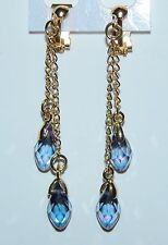 Sparkling Transparent Purple AB Crystal Teardrop & Gold Plate Clip On Earrings