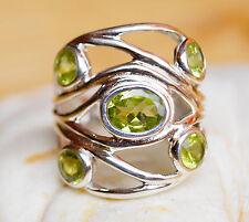 Silberring 56 Handarbeit Peridot Grün Silber Journey Breit Ring Wrap Modern