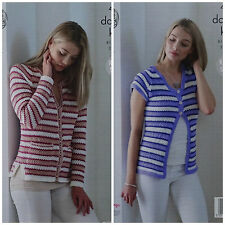 KNITTING PATTERN Ladies Long & Short Sleeve Striped Cardigan Smooth DK 4832