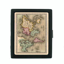 Vintage World Maps Themed D4 Small Black Cigarette Case Card Money Holder