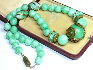 Vintage Art Deco Czech 1930's Green Peking Glass & brass necklace on chain