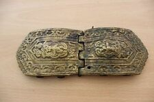 19C. Antique Bulgarian Folk Art Bronze Pafta Belt Buckles Big