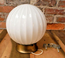 Vintage Ceiling Light Fixture White Glass 60's Round Ribbed Shade Globe