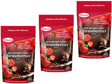 Morlife Dark Chocolate Strawberries 125g x3 | Healthy Snack | Gluten Free