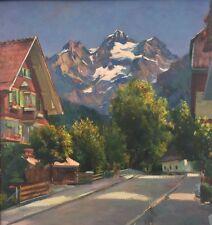 Ölgemälde Dorf in den Alpen signiert E.Farello ..