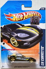 Hot Wheels 2011 Main Street C6 Corvette Police #4/10 Black Factory Sealed