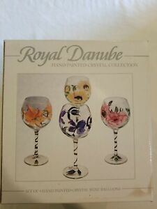 ROYAL DANUBE 4 HAND PAINTED CRYSTAL WINE BALLOONS GLASSES NEW IN BOX