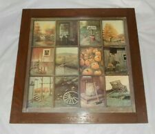 Vintage Home Interiors Autumn Fall Season Window Pane Country Picture B.Mitchell